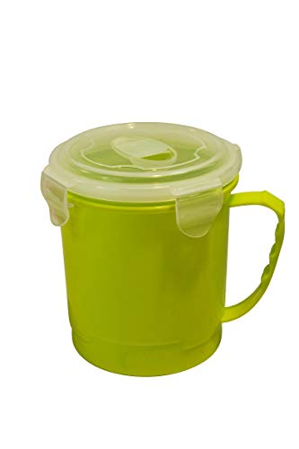 Mikrowellenbecher 710 ml, Mikrowellengeschirr oder Mikrowellen-Nudelkocher 940 ml, mit Klickverschluss und Dampfablaßverschluß (Suppenbecher grün)