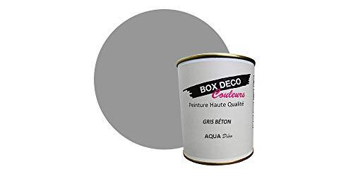 Peinture acrylique aspect mat Aqua déco - Murale - 44 couleurs - 750 ml - 7.5 m² (Gris béton)