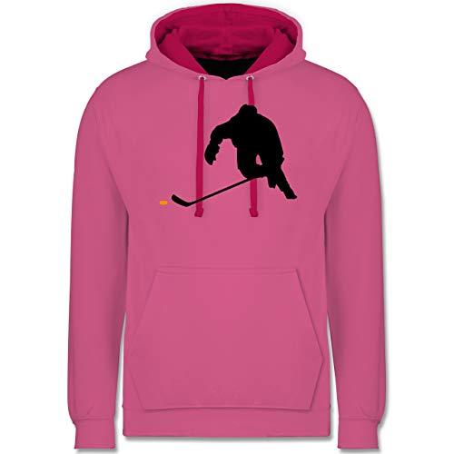 Shirtracer Eishockey - Eishockey Sprint - XXL - Rosa/Fuchsia - Hockey Pullover Kinder - JH003 - Hoodie zweifarbig und Kapuzenpullover für Herren und Damen