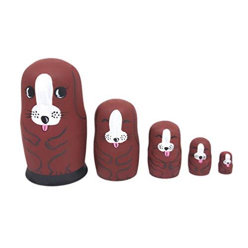ULTNICE Russische Nistpuppen Traditionelle Matroschka 5 Schichten Hund Stapeln Spielzeug Puzzles Lernspiel für Kinder Kinder