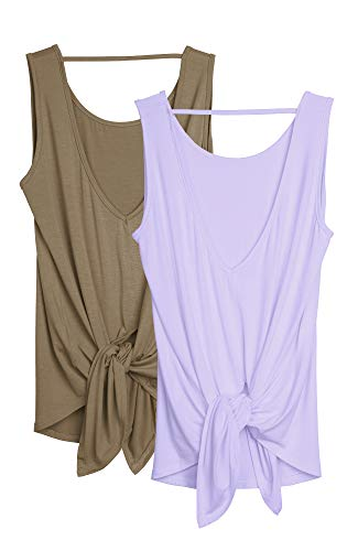 icyzone Damen Yoga Tank Tops Rückenfrei Sport Top Workout Fitness Ärmellos Shirts 2er Pack (L, Blasses Lila/Kaffee)