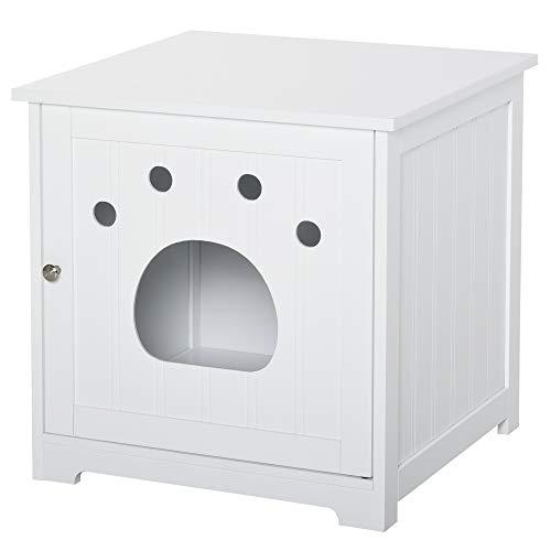 Pawhut Cuccia Casetta per Gatti e Piccoli Cani Mobile per Lettiera in Legno Multiuso, Anta Magnetica, Bianco, 48x51x51cm