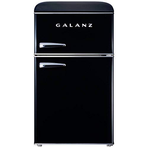 Galanz GLR31TBKER Retro Compact Refrigerator, 3.1 Cu.Ft Mini Fridge with Dual Doors, Adjustable...