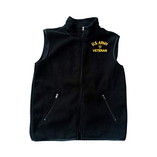 MILITARY Army U.S. Army Veteran Black Fleece Zipped Vest with Pocket L
