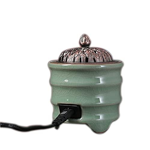 OMKMNOE Quemador de Incienso eléctrico Calefacción, Tipo de patrón Difusor de aromaterapia para decoración del hogar Relajación de Yoga,Verde