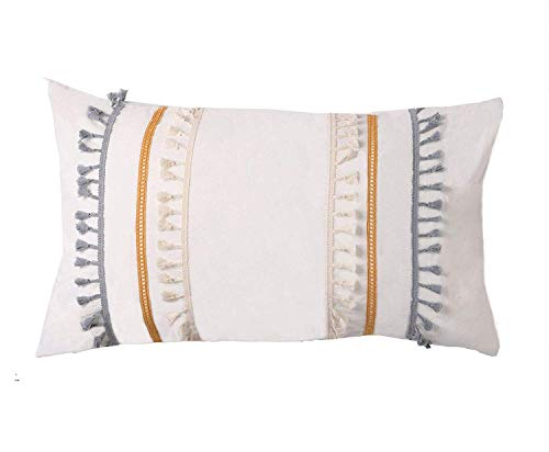 Flber Tasseled Sham Set Boho Cotton Pillow Covers,18.9in x29.1in,Set of 2