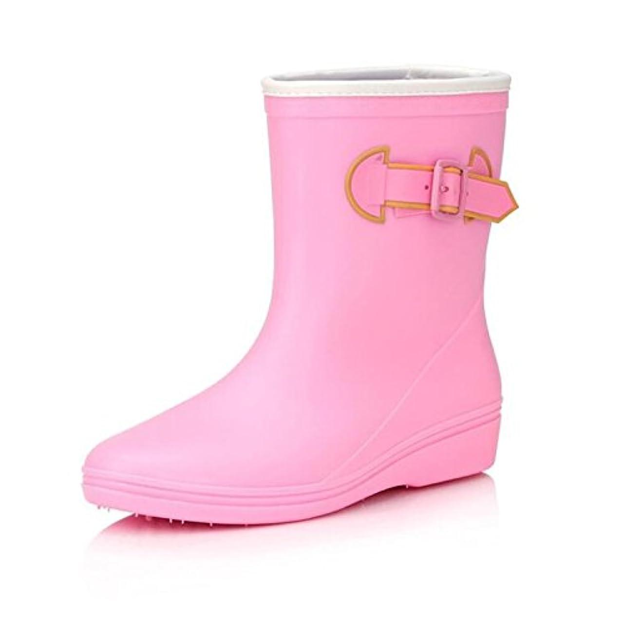 こんにちは仮装無駄だレインブーツ レディース 長靴 軽量 厚底 ロング長 滑り止め ピンク 24.5cm