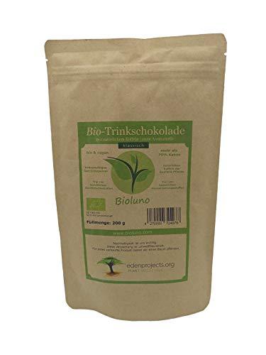 Bio Trinkschokolade Pulver (70% Kakao) 200g | mit natürlichem Koffein der Guarana-Pflanze | ohne Aromastoffe | kakaohaltiges Getränkepulver | wir lassen einen Baum pflanzen | Bioluno