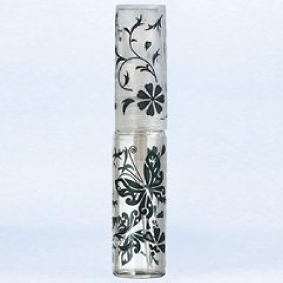 パフ葉申し立てられた【ヤマダアトマイザー】グラスアトマイザー プラスチックポンプ 柄 50138 バタフライ ブラック 4ml