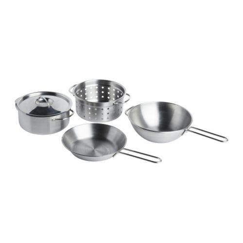 Ikea DUKTIG - 4-piece cookware set, stainless steel colou