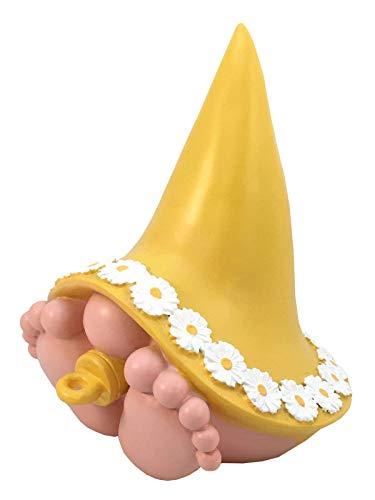 """GlitZGlam Piccola Gnoma """"Daisy"""" con Una magnifica Corona di Margherite sul Suo Cappello da gnoma. Una gnoma in Miniatura per Il Giardino degli gnomi e delle Fate"""
