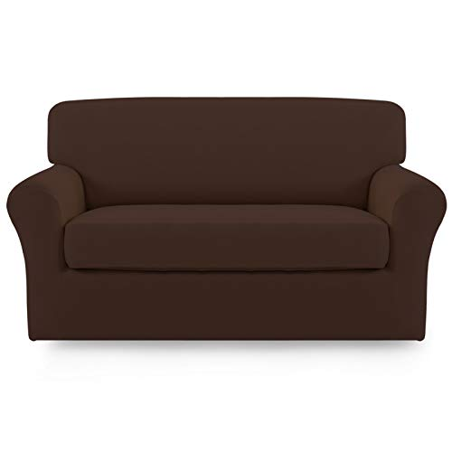 Easy-Going 2 Pieces Microfiber Stretch Sofa Slipcover – Spandex Soft Fitted Sofa Couch Cover, Washable Furniture Protector with Elastic Bottom Kids,Pet (Loveseat,Coffee)