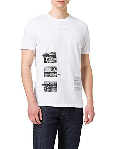 Sisley T-Shirt 3I1XO12QL, Bianco 101, M Uomo