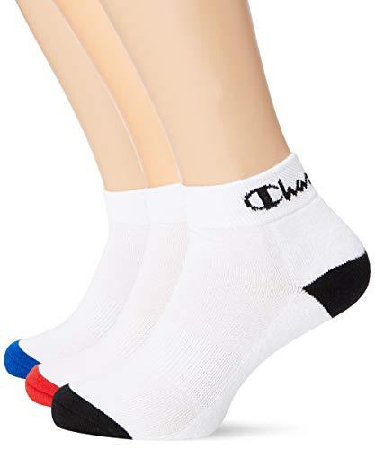 Champion Performance Ankle X3 Calcetines de deporte, Multicolor (Blanc/Noir, Blanc/Bleu, Blanc/Rouge 8lz), 35/38 (Pack de 3) para Hombre