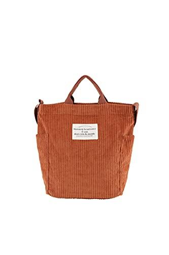 Ulisty Damen Cord Schultertasche Lässige Handtasche Mode Schultasche Umhängetasche braun
