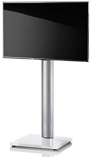 VCM TV Standfuß LED Ständer Fernseh Alu Glas Universal VESA Mobil Rollen Zwischenboden Weißlack