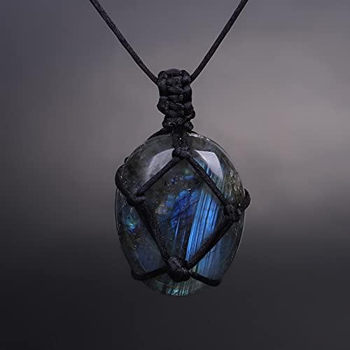 JIUXIAO Labradorita Moonstone Natural Irregular Stone Wrap Braid Macrame Energy Collar para Hombres Mujeres