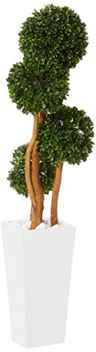 Nearly Natural Artificial Tree UV Resistant 4†Boxwood Topiary in Planter (Indoor/Outdoor), Green,12'D x 12'W x 4'H