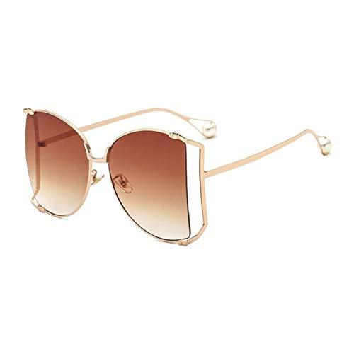 QAZXSW Sonnenbrille Butterfly Ladies Fashion Sonnenbrille Semi Rimless Pearl Frauen Sonnenbrille