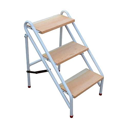 GAXQFEI Tabureta de Taburete de Metal 2 Paso, Actualización de Taburete Plegable Ligero con Mango Largo, Pedal de Estudio Antideslizante, Aspecto Clásico de Madera sin Madera Ladder de Pasos de Preo