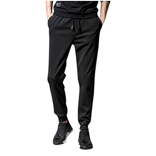 Overdose Pantalones Largos de Caballero Pantalones Casuales de Manga de viga para Hombres Pantalones Deportivos de Bolsillo con cordón sólido