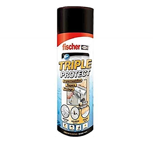 fischer - Silicona líquida en spray (bote 500ml), Negro para sellar e impermeabilizar fugas de agua, grietas