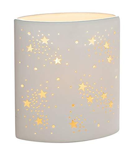 GILDE Lampe Ellipse Sterne - Porzellan- mit Lochmuster im Prickellook Höhe 16 cm