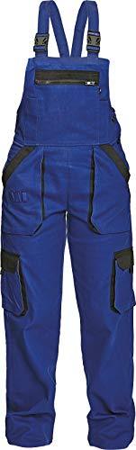 DINOZAVR Max Damen Latzhose - Multi Taschen Baumwolle Atmungsaktiv und Leicht Arbeitshose - Blau/Schwarz 54