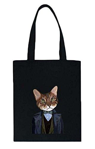 Wear Black mit Cool Cat einen Anzug Muster Tragetaschen Einkaufstaschen