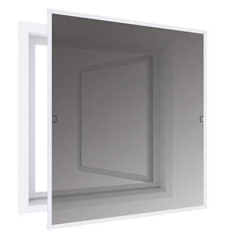 Windhager Insektenschutz und Sonnenschutz-Rahmenfenster, reduziert Sonneneinstrahlung, Fliegengitter, Alurahmen für Fenster, individuell anpassbar, 140 x 150cm, weiß, 03286