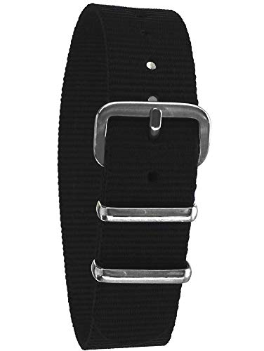 Pacific Time Nylon Uhrenarmband schwarz 10036