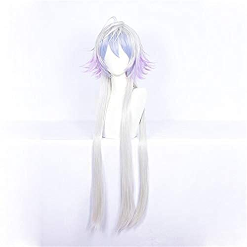 PRTOYO Fate/Grand Order Merlin Cosplay Wig 100 cm Long Straight Silver Blue Purple Gradient Synthetic Hair for Halloween Party Gift Fate Grand Order Merlin