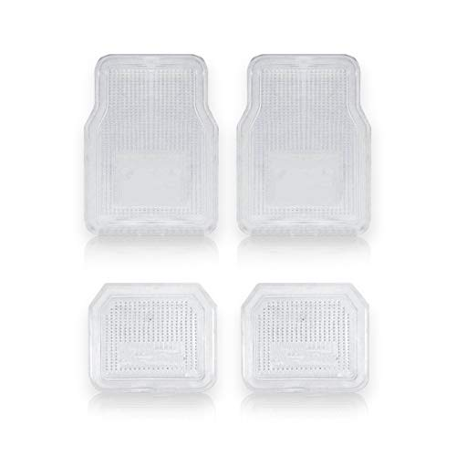 Vaygway All Weather Floor Mats-Universal 4 Piece Car Interior- Rubber Clear Car Plastic Rug- Heavy Duty Weather Protection Mats