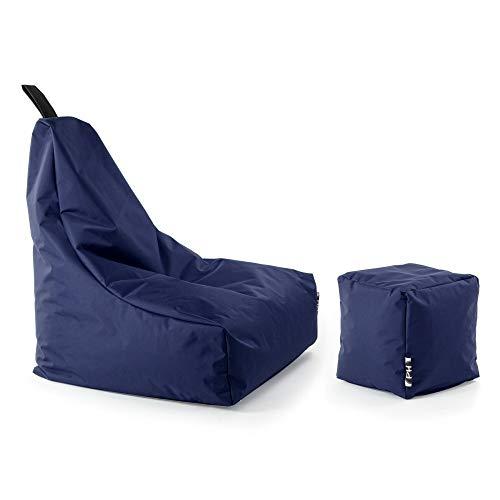 Patchhome Lounge Sessel + Würfel XXL Gamer Sitzsack Sitzkissen Sitzsäcke Erwachsene Riesensitzsack Kinder fertig mit Styropor Füllung befüllt In & Outdoor geeignet in 2 Größen und 25 Farben Marine