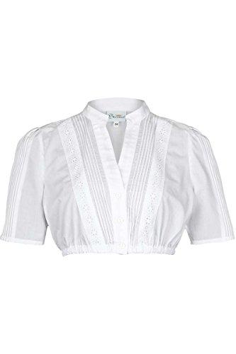 Trachten Stoiber Damen Dirndl Bluse V-Ausschnitt weiß, WEIß, 48