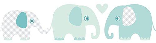 lovely label Bordüre selbstklebend Elefanten Mint/GRAU - Wandbordüre Kinderzimmer/Babyzimmer mit Elefanten - Wandtattoo Schlafzimmer Mädchen & Junge – Wanddeko Baby/Kinder