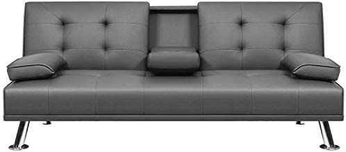 VICTONE Futon Sofa Bed Modern Faux Leather Couch Bed Convertible Folding Recliner for Living product image