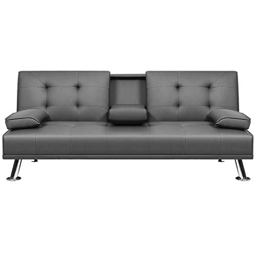 VICTONE Futon Sofa Bed Modern Faux Leather Couch Bed Convertible Folding Recliner for Living Room with 2 Cup Holders and Armrest (Grey)