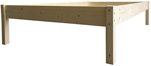 LIEGEWERK Erhöhtes Bett Massivholzbett Holzbett Seniorenbett Holz Natur 90 100 120 140 160 180 200 x 200cm (90cm x 200cm, Betthöhe 55cm)