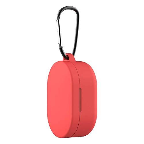 Junerain Cubierta Protectora del Caso del Auricular redmi Airdots Titular de Carga Caja (Rojo)