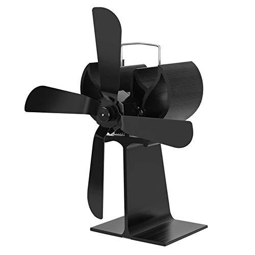 XIAOKUKU Wärmebetriebener Kaminventilator, 4-Blade-Silent-Herdventilator verteilt gleichmäßig Protokollbrandwärme, Umweltschutz und hohe Temperaturbeständigkeit,Schwarz