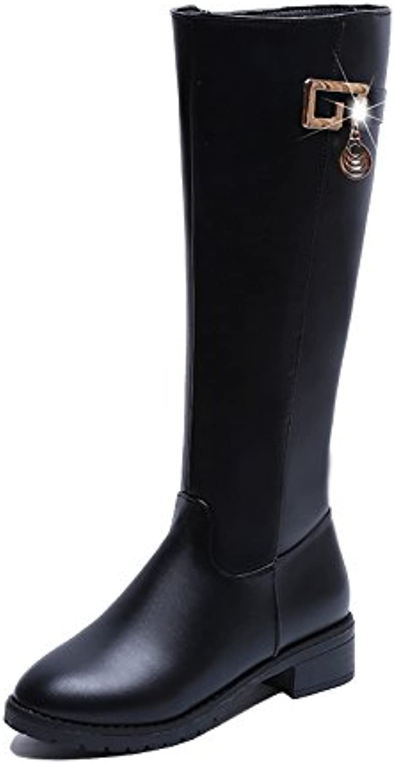 WYMBS Women's shoes Waterproof Autumn Winter Rough with Round Head Plush in The Tube Long Boots