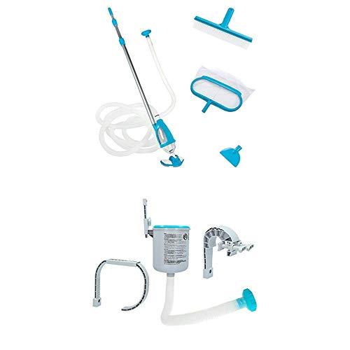 Intex Deluxe Pool Maintenance Kit - Poolzubehör - Pool Reinigungsset - 5-teilig + Surface Skimmer - Deluxe Wandmontage-Oberflächenskimmer - Einhängeskimmer - 16 cm