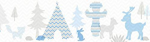 lovely label Bordüre selbstklebend INDIANERTIERE BLAU/BEIGE-GRAU Wandbordüre Kinderzimmer/Babyzimmer mit Indianer Tieren - Wandtattoo Schlafzimmer Mädchen & Junge – Wanddeko Baby/Kinder