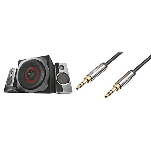 Trust Tytan GXT-38 Set Altoparlanti 2.1 con Subwoofer, per Gaming, Nero & Amazon Basics - Cavo audio stereo maschio su maschio 3,5 mm, 2,4 m