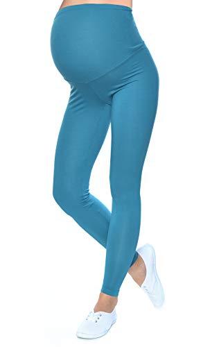 Mija - Qualität Komfortable Umstandsleggings für Schwangere Lange Hose 1042 (XS/S, Türkis)