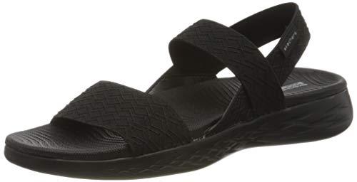 Skechers On-The-Go 600, Sandali con Cinturino alla Caviglia Donna, Nero (Black Textile BBK), 39 EU