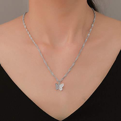 Yienate Collar para mujer, adolescentes, mariposa, temperamento, clavícula, cadena de clavícula, personalidad, salvaje, simple, collar para niñas (plata)