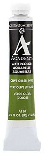 Grumbacher Academy Watercolor Paint, 7.5ml/0.25 Ounce, Olive Green Hue (A150)