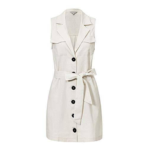Elegant Short Blazer Women Dress Sexy Bow Belt Tie Solid Mini Dress Linen Button Beach Wrap Dresses Shirt-White-Large